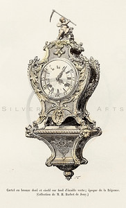 Vintage 1800s Color Illustration of a Wall Clock from HISTOIRE DU MOBILIER by Albert Jacquemart.  The natural patina, age-toning, imperfections, and old paper antiquing of this vintage 19th century illustration are preserved in this image.