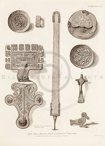 Vintage 1800s Sepia Illustration of Anglo Saxon Remains - MISCELLANEOUS TRACTS RELATING TO ANTIQUITY by Society of Antiquaries in London.