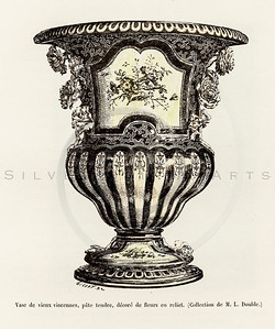 Vintage 1800s Color Illustration of an Ornate Vase from HISTOIRE DU MOBILIER by Albert Jacquemart.  The natural patina, age-toning, imperfections, and old paper antiquing of this vintage 19th century illustration are preserved in this image.