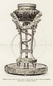 Vintage 1800s Color Illustration of Decorative Bowl on Stand from HISTOIRE DU MOBILIER by Albert Jacquemart.  The natural patina, age-toning, imperfections, and old paper antiquing of this vintage 19th century illustration are preserved in this image.