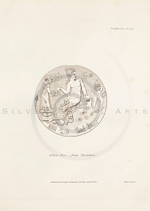 Vintage 1800s Sepia Illustration of an Antique SIlver Disk - MISCELLANEOUS TRACTS RELATING TO ANTIQUITY by Society of Antiquaries in London.