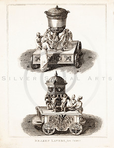 Vintage 1700s Sepia Illustration of Decorative Figurines - FRAGMENTS OF THE HOLY SCRIPTURES by Calmet.