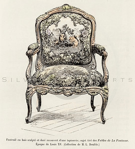 Vintage 1800s Color Illustration of Chair from HISTOIRE DU MOBILIER by Albert Jacquemart.  The natural patina, age-toning, imperfections, and old paper antiquing of this vintage 19th century illustration are preserved in this image.