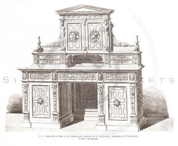 Vintage 1800s Sepia Illustration of Ornate Desk - GEWERBEHALLE ORGAN FUR DEN FORTSCHRITT by Gewerbehalle, published in Germany.