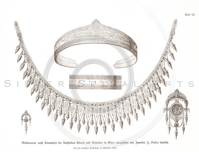 Vintage 1800s Sepia Illustration of Antique Jewelry - GEWERBEHALLE ORGAN FUR DEN FORTSCHRITT by Gewerbehalle, published in Germany.