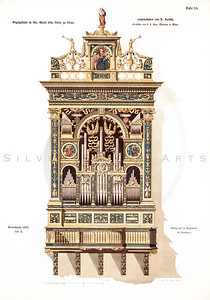 Vintage 1800s Color Illustration of an Organ - GEWERBEHALLE ORGAN FUR DEN FORTSCHRITT by Gewerbehalle, published in Germany.
