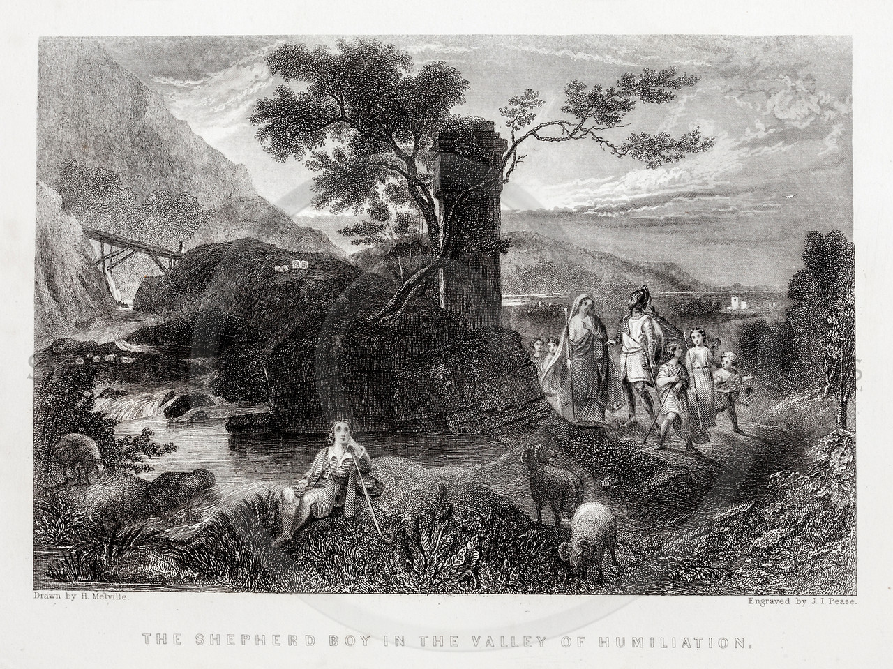 Vintage 1800s Steel Engraving Illustration of a Shepherd in a Valley from BUNYAN'S PILGRIM'S PROGRESS by John Bunyan.  The natural patina, age-toning, imperfections, and old paper antiquing of this vintage 19th century illustration are preserved in this image.