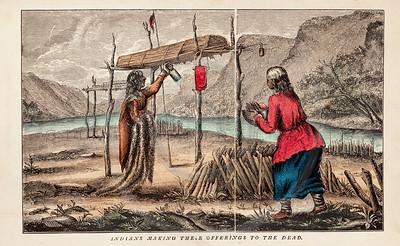 Vintage 1800s Color Illustration of Native American Women - INDI