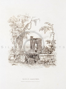 Vintage 1800s Engraving Illustration of the Ruins of Jamestown f