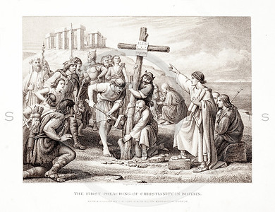 Vintage 1800s Sepia Illustration of the First Preaching of Christianity in Britain - PICTURES & ROYAL PORTRAITS by Thomas Archer.  The natural patina, age-toning, imperfections, and old paper antiquing of this vintage 19th century illustration are preserved in this image.