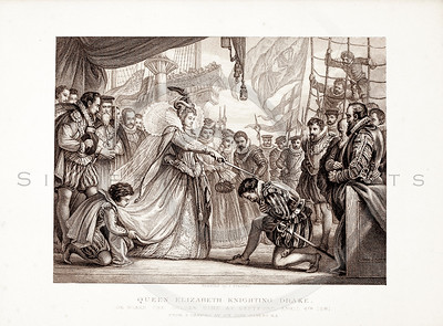 Vintage 1800s Sepia Illustration of Queen Elizabeth Knighting Drake - PICTURES & ROYAL PORTRAITS by Thomas Archer.  The natural patina, age-toning, imperfections, and old paper antiquing of this vintage 19th century illustration are preserved in this image.