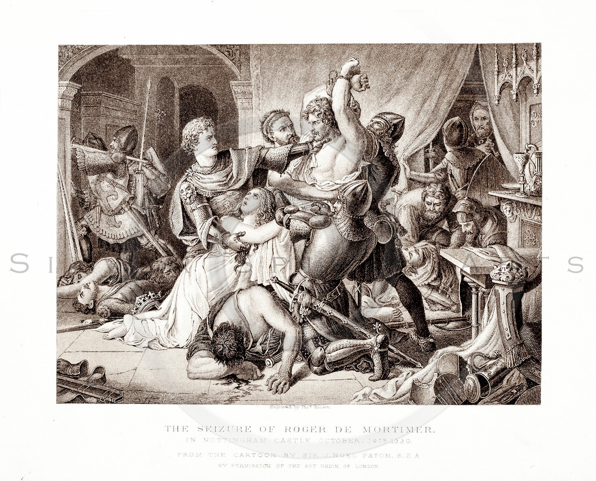 Vintage 1800s Sepia Illustration of The Seizure of Roger de Mortimer - PICTURES & ROYAL PORTRAITS by Thomas Archer.  The natural patina, age-toning, imperfections, and old paper antiquing of this vintage 19th century illustration are preserved in this image.
