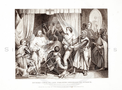 Vintage 1800s Sepia Illustration of a King Granting Forgiveness - PICTURES & ROYAL PORTRAITS by Thomas Archer.  The natural patina, age-toning, imperfections, and old paper antiquing of this vintage 19th century illustration are preserved in this image.