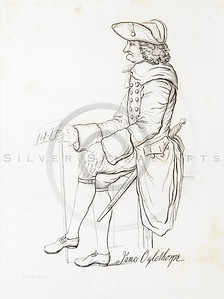 Vintage 1800s Engraving Illustration of Man's portrait from THE HISTORY OF THE UNITED STATES by George Bankcroft.  The natural patina, age-toning, imperfections, and old paper antiquing of this vintage 19th century illustration are preserved in this image.