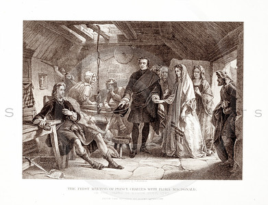 Vintage 1800s Sepia Illustration of The First Meeting of Prince Charles with Flora Macdonald - PICTURES & ROYAL PORTRAITS by Thomas Archer.  The natural patina, age-toning, imperfections, and old paper antiquing of this vintage 19th century illustration are preserved in this image.