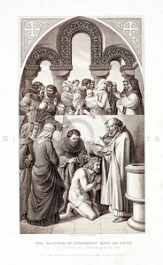 Vintage 1800s Sepia Illustration of the Baptism of Ethelberht King of Kent - PICTURES & ROYAL PORTRAITS by Thomas Archer.  The natural patina, age-toning, imperfections, and old paper antiquing of this vintage 19th century illustration are preserved in this image.
