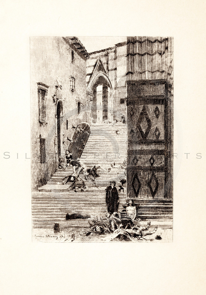 Vintage 1800s Photo-Etching Sepia Illustration of the Massacre of St. Bartholomew from MEMOIRS OF THE COURT OF ENGLAND by Jesse Heneage.  The natural patina, age-toning, imperfections, and old paper antiquing of this vintage 19th century illustration are preserved in this image.