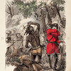 Vintage 1800s Color Illustration of a Border Encounter - INDIAN RACES OF NORTH & SOUTH AMERICA by Brownwell.