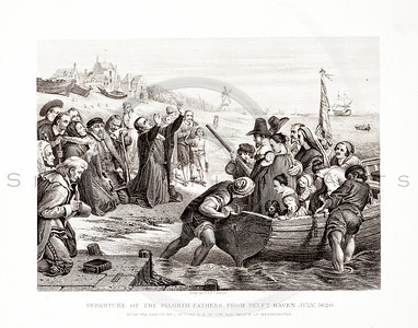 Vintage 1800s Sepia Illustration of The Departure of the Pilgrim Fathers From Delft Haven - PICTURES & ROYAL PORTRAITS by Thomas Archer.  The natural patina, age-toning, imperfections, and old paper antiquing of this vintage 19th century illustration are preserved in this image.
