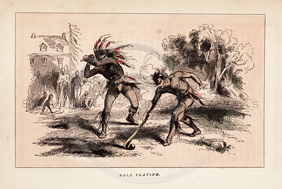 Vintage 1800s Color Illustration of Native American Men Playing Ball - INDIAN RACES OF NORTH & SOUTH AMERICA by Brownwell.
