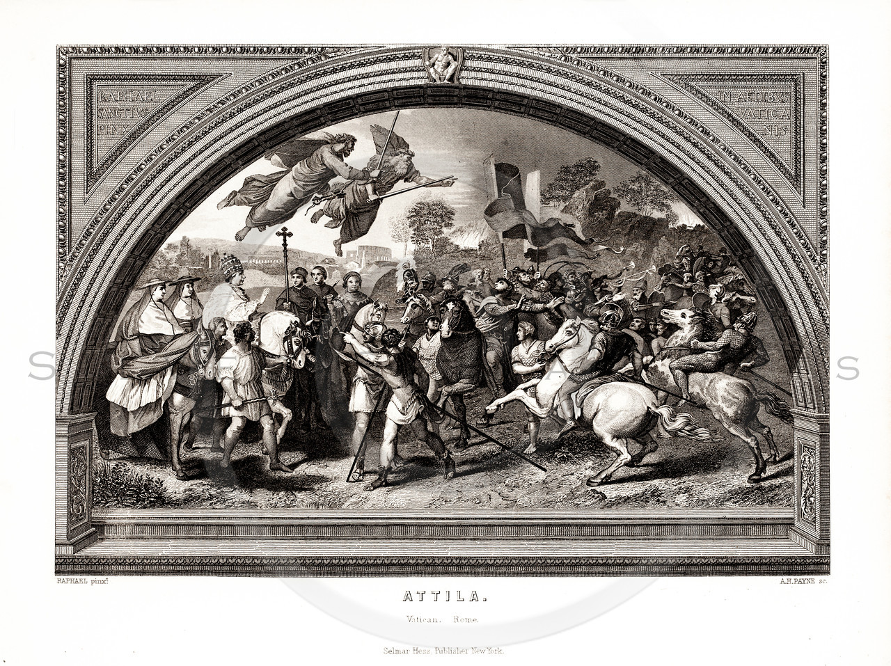 Vintage 1800s Black & White Illustration of a Battle Scene - A PICTORIAL HISTORY OF THE WORLD'S GREATEST NATION by Charlotte Yonge.