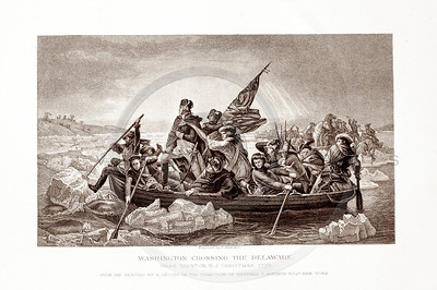 Vintage 1800s Sepia Illustration of Washington Crossing the Delaware - PICTURES & ROYAL PORTRAITS by Thomas Archer.  The natural patina, age-toning, imperfections, and old paper antiquing of this vintage 19th century illustration are preserved in this image.