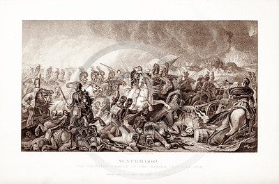 Vintage 1800s Sepia Illustration of the Battle at Waterloo - PICTURES & ROYAL PORTRAITS by Thomas Archer.  The natural patina, age-toning, imperfections, and old paper antiquing of this vintage 19th century illustration are preserved in this image.
