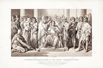 Vintage 1800s Sepia Illustration of The Coronation of Harold King of the Anglo-Saxons - PICTURES & ROYAL PORTRAITS by Thomas Archer.  The natural patina, age-toning, imperfections, and old paper antiquing of this vintage 19th century illustration are preserved in this image.