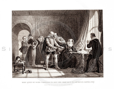 Vintage 1800s Sepia Illustration of Mary Queen of Scots Being Forced to Sign Her Abdication - PICTURES & ROYAL PORTRAITS by Thomas Archer.  The natural patina, age-toning, imperfections, and old paper antiquing of this vintage 19th century illustration are preserved in this image.