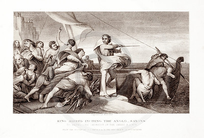 Vintage 1800s Sepia Illustration of King Alfred Inciting the Ang