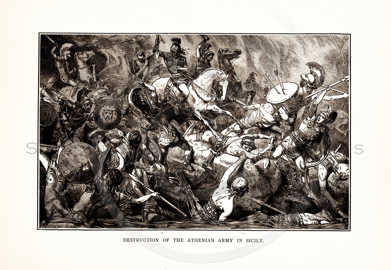 Vintage 1800s Sepia Illustration of an Ancient Athenian Battle - A PICTORIAL HISTORY OF THE WORLD'S GREATEST NATION by Charlotte Yonge.