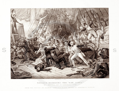Vintage 1800s Sepia Illustration of Nelson Boarding the San Jose - PICTURES & ROYAL PORTRAITS by Thomas Archer.  The natural patina, age-toning, imperfections, and old paper antiquing of this vintage 19th century illustration are preserved in this image.