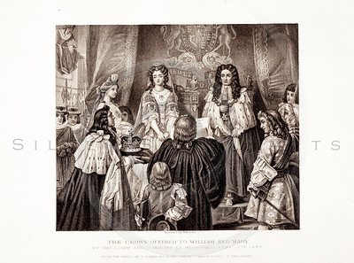 Vintage 1800s Sepia Illustration of The Crown Being Offered to William and Mary from PICTURES & ROYAL PORTRAITS by Thomas Archer.  The natural patina, age-toning, imperfections, and old paper antiquing of this vintage 19th century illustration are preserved in this image.