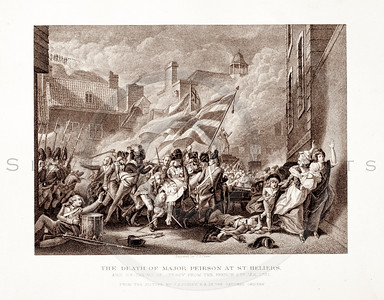 Vintage 1800s Sepia Illustration of The Death of Major Peirson - PICTURES & ROYAL PORTRAITS by Thomas Archer.  The natural patina, age-toning, imperfections, and old paper antiquing of this vintage 19th century illustration are preserved in this image.