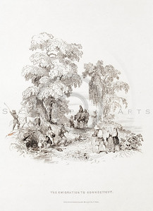 Vintage 1800s Engraving Illustration of the Emigration to Connecticut from THE HISTORY OF THE UNITED STATES by George Bankcroft.  The natural patina, age-toning, imperfections, and old paper antiquing of this vintage 19th century illustration are preserved in this image.