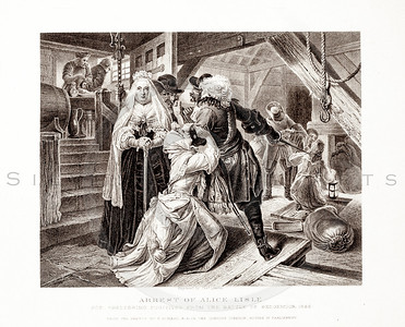 Vintage 1800s Sepia Illustration of the Arrest of Alice Lisle - PICTURES & ROYAL PORTRAITS by Thomas Archer.  The natural patina, age-toning, imperfections, and old paper antiquing of this vintage 19th century illustration are preserved in this image.