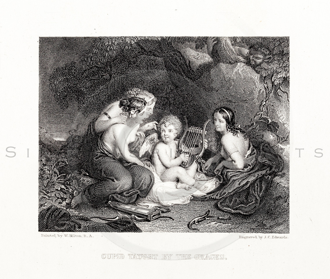 Vintage 1800s Sepia Steel Engraving Illustration of Cupid Being Taught by the Graces from THE LIBRARY OF CHOICE LITERATURE by Ainsworth Spofford.  The natural patina, age-toning, imperfections, and old paper antiquing of this vintage 19th century illustration are preserved in this image.