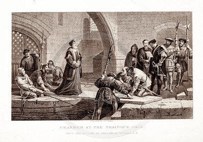 Vintage 1800s Sepia Illustration of Cranmer at the Traitor's Gate - PICTURES & ROYAL PORTRAITS by Thomas Archer.  The natural patina, age-toning, imperfections, and old paper antiquing of this vintage 19th century illustration are preserved in this image.