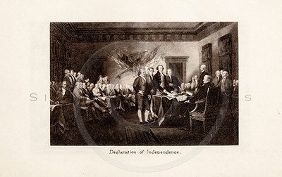 Vintage 1900s Sepia Photogravure Illustration of the Signing of the Declaration of Independence from MESSAGES & PAPERS OF THE PRESIDENTS by James Richardson.  The natural patina, age-toning, imperfections, and old paper antiquing of this vintage 20th century illustration are preserved in this image.