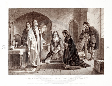 Vintage 1800s Sepia Illustration of Lord William Russell Receiving the Sacrament  - PICTURES & ROYAL PORTRAITS by Thomas Archer.  The natural patina, age-toning, imperfections, and old paper antiquing of this vintage 19th century illustration are preserved in this image.