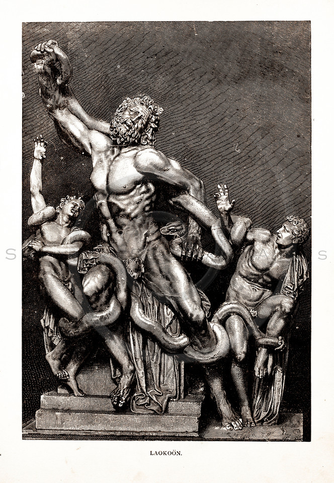 Vintage 1800s Sepia Illustration of Laocoon's Statue - A PICTORIAL HISTORY OF THE WORLD'S GREATEST NATION by Charlotte Yonge.