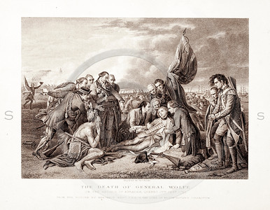 Vintage 1800s Sepia Illustration of The Death of General Wolfe - PICTURES & ROYAL PORTRAITS by Thomas Archer.  The natural patina, age-toning, imperfections, and old paper antiquing of this vintage 19th century illustration are preserved in this image.