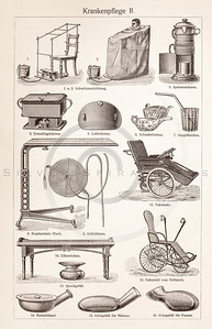 Vintage sepia illustration of nursing equipment from Meyers Konversations Lexikon 1913 Encyclopedia.  Antique digital download of old print - nursing; medical; medicine; doctor; equipment; health; wheelchair; tools.  The natural age-toning, paper stains, and antique printing imperfections are preserved in this 1900s stock image.