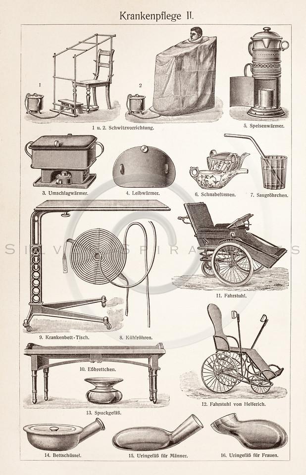 Vintage Sepia Illustration Of Nursing Equipment From Meyers Konversations Lexikon 1913 Encyclopedia Antique Digital Download