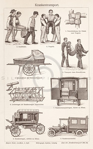Vintage sepia illustration of medical transport from Meyers Konversations Lexikon 1913 Encyclopedia.  Antique digital download of old print - emergency; medicine; medical; healthcare; ambulance; transport; patient.  The natural age-toning, paper stains, and antique printing imperfections are preserved in this 1900s stock image.