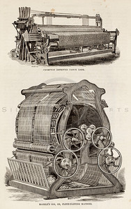 Vintage 1800s Sepia Illustration of Loom.  The natural patina, age-toning, imperfections, and old paper antiquing of this vintage 19th century illustration are preserved in this image.