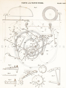 Vintage 1800s Sepia Illustration of Mechanical Clock Parts - ENCYCLOPEDIA BRITANICA, 1842.