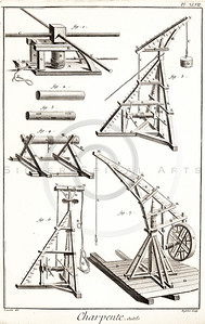 Vintage 1700s Sepia Illustration of Antique Machinery and Tools - DICTIONNAIRE RAISONNAIRE des SCIENCES, des ARTS et des METIERS by Diderot, published in Paris, France.