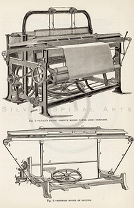 Vintage 1800s Sepia Illustration of Textile Machines.  The natural patina, age-toning, imperfections, and old paper antiquing of this vintage 19th century illustration are preserved in this image.