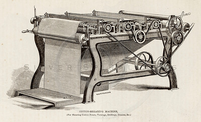 Vintage 1800s Sepia Illustration of a Cotton Shearing Machine.  The natural patina, age-toning, imperfections, and old paper antiquing of this vintage 19th century illustration are preserved in this image.
